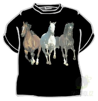 Hlavní kategorie - Triko Tři koně běžící černá