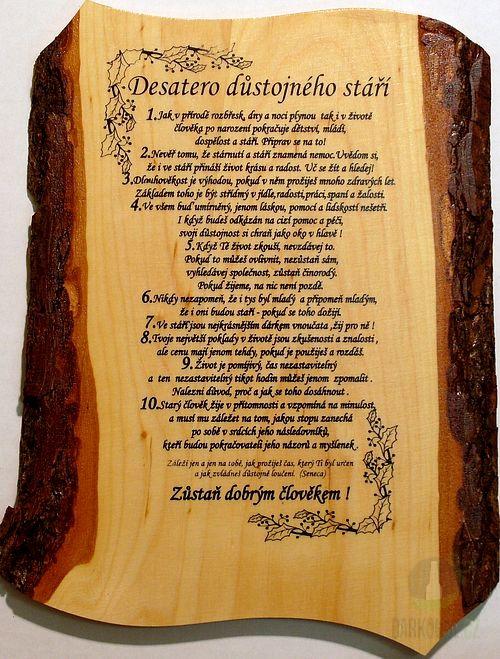 Hlavní kategorie - Žertovná tabulka nástěnná Desatero Důstojného stáří