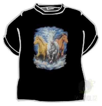 Hlavní kategorie - Triko -Koně v oblacích. černá