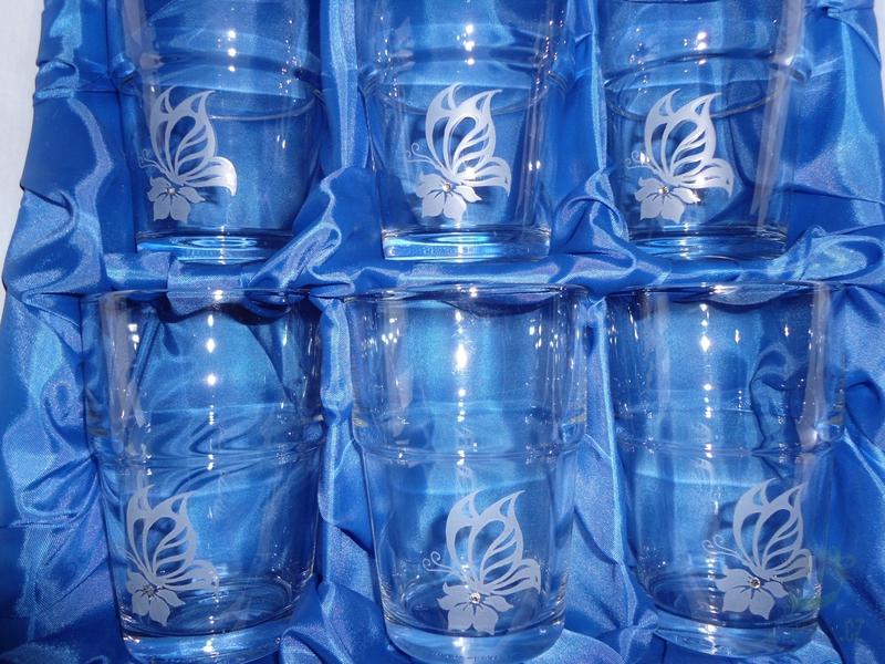Hlavní kategorie - Souprava pískovaná šest sklenic Motýl 0,1l