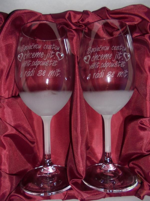 """Hlavní kategorie - Svatební pískované sklenice na víno - """" Společně cestou..."""" 0,3l"""