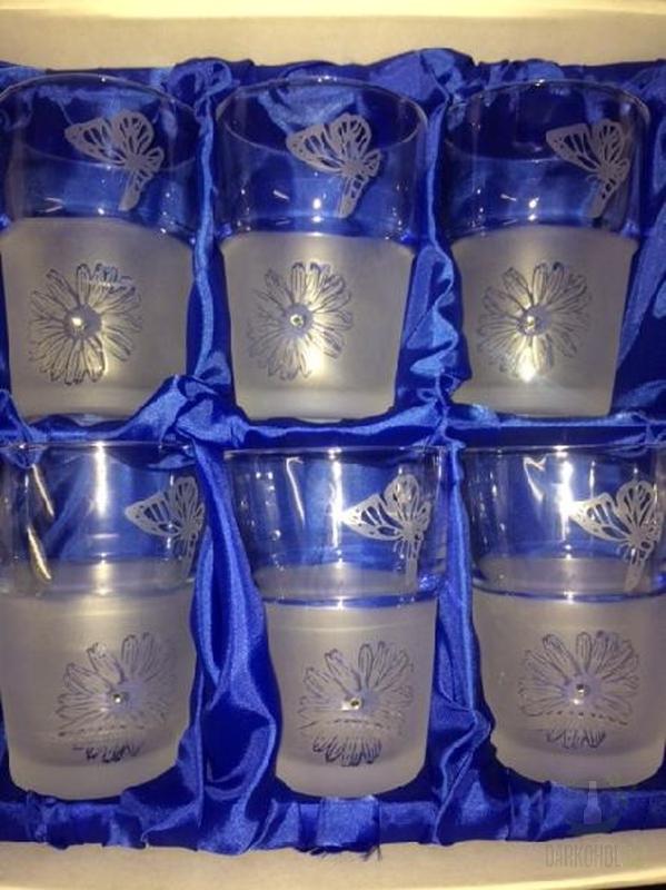 Hlavní kategorie - Souprava pískovaná 6 sklenic Motýl,kytka 0,1l