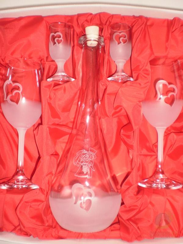 Hlavní kategorie - Svatební sada pískovaná lahev Gocia 0,5l+2 vina+2 vodky