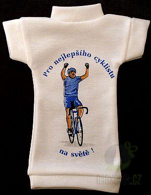 Hlavní kategorie - Tričko na láhev- Nejlepší cyklista modrý