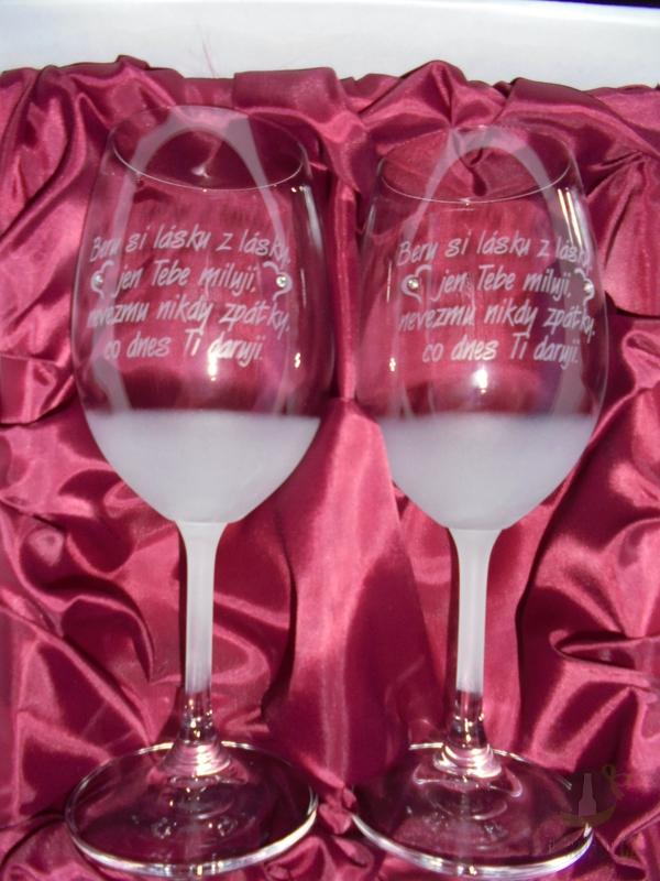 """Hlavní kategorie - Svatební pískované sklenice na víno - """" Beru si lásku..."""" 0,3l"""