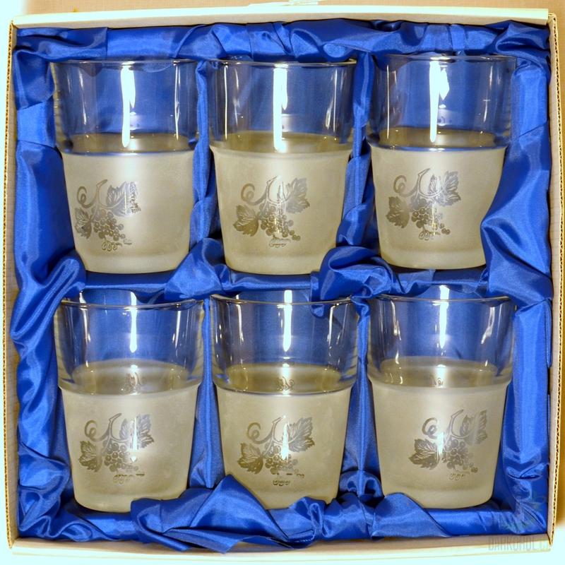 Hlavní kategorie - Souprava pískovaná šest sklenic Hrozno 0,1l