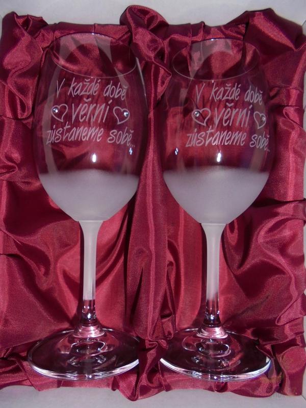"""Hlavní kategorie - Svatební pískované sklenice na víno -"""" V každé době věrni..."""" 0,3l"""