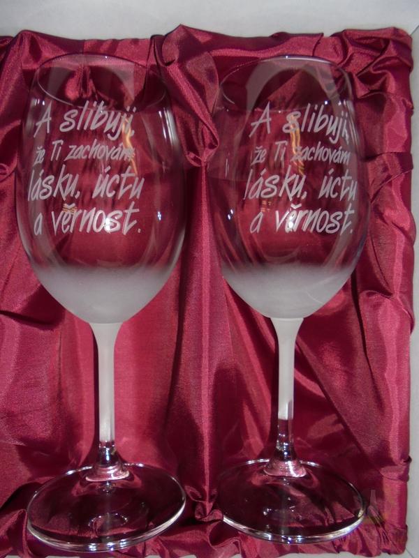 """Hlavní kategorie - Svatební pískované sklenice na víno - """"A slibuji..."""" 0,3l"""