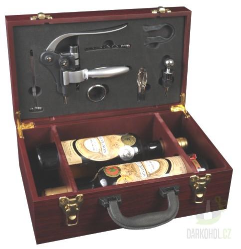 Hlavní kategorie - Dřevěný box na 2 lahve vína s příslušenstvím