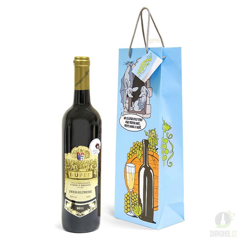 Hlavní kategorie - Papírová taška na víno žertovná - netopýři