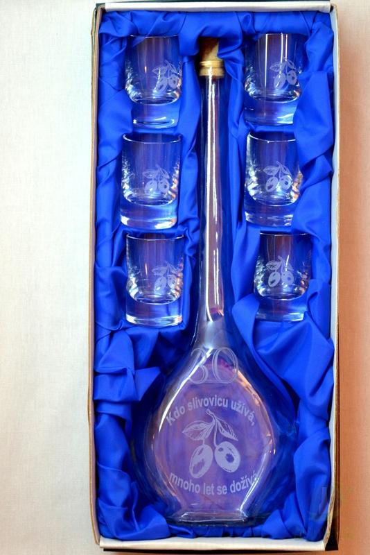 Hlavní kategorie - Velká sada láhev pískovaná Contesa 0,5l 30let