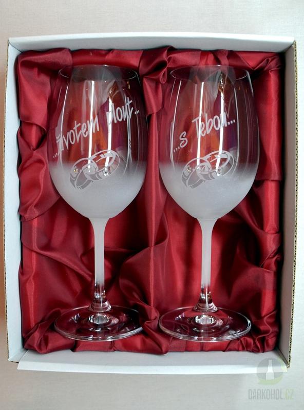 """Hlavní kategorie - Svatební pískované sklenice na víno - """" Životem plout..."""" 0,3l"""