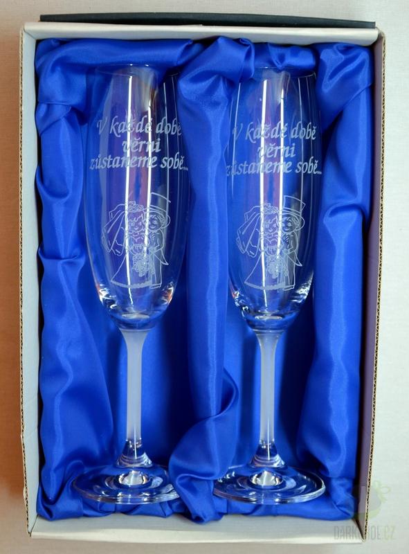 """Hlavní kategorie - Svatební pískované sklenice na víno - """"V každé době..."""" 0,3l"""