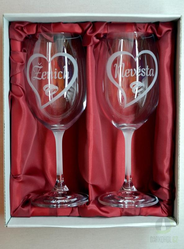 """Hlavní kategorie - Svatební pískované sklenice na víno - """"Nevěsta+ženich """"Srdce 0,3l"""