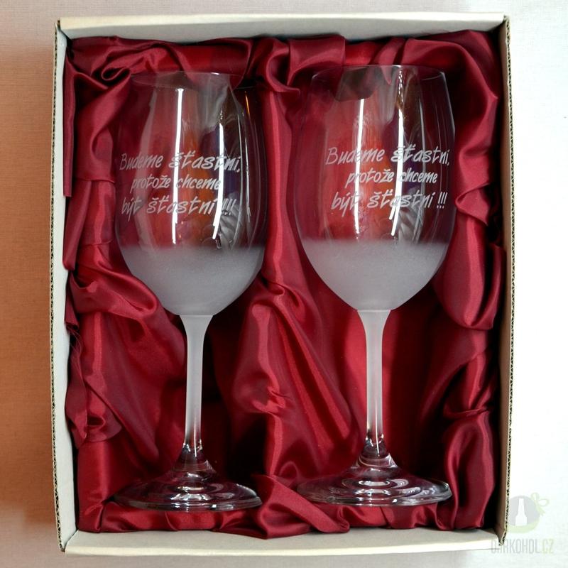 """Hlavní kategorie - Svatební pískované sklenice na víno -"""" Budeme šťastni..."""" 0,3l"""