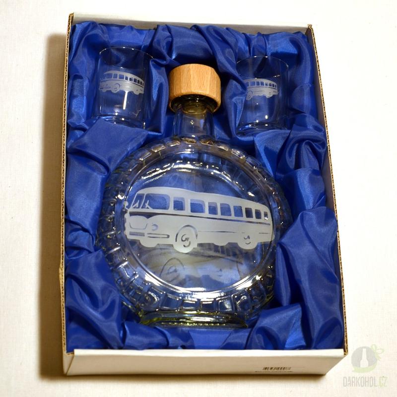 Hlavní kategorie - Souprava pískovaná láhev budik+2 panáky Autobus