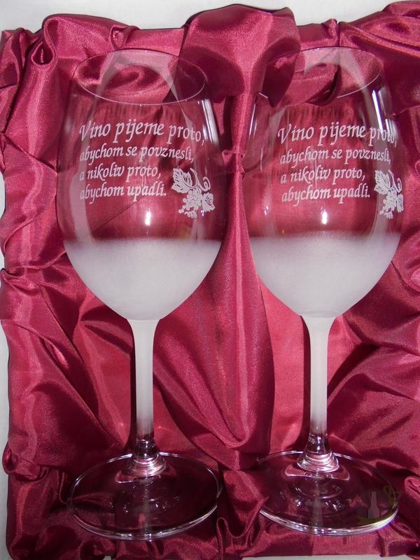 """Hlavní kategorie - Sklenice pískované na víno dvě 0,3l """"Víno pijeme proto..."""""""