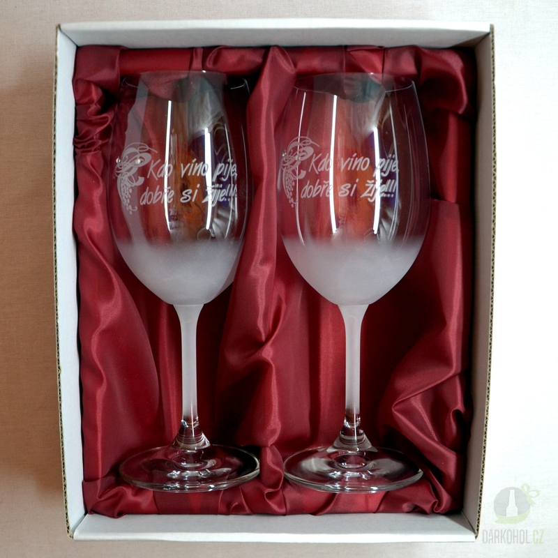 """Hlavní kategorie - Sklenice pískované na víno dvě 0,3l """"Kdo víno pije..."""""""