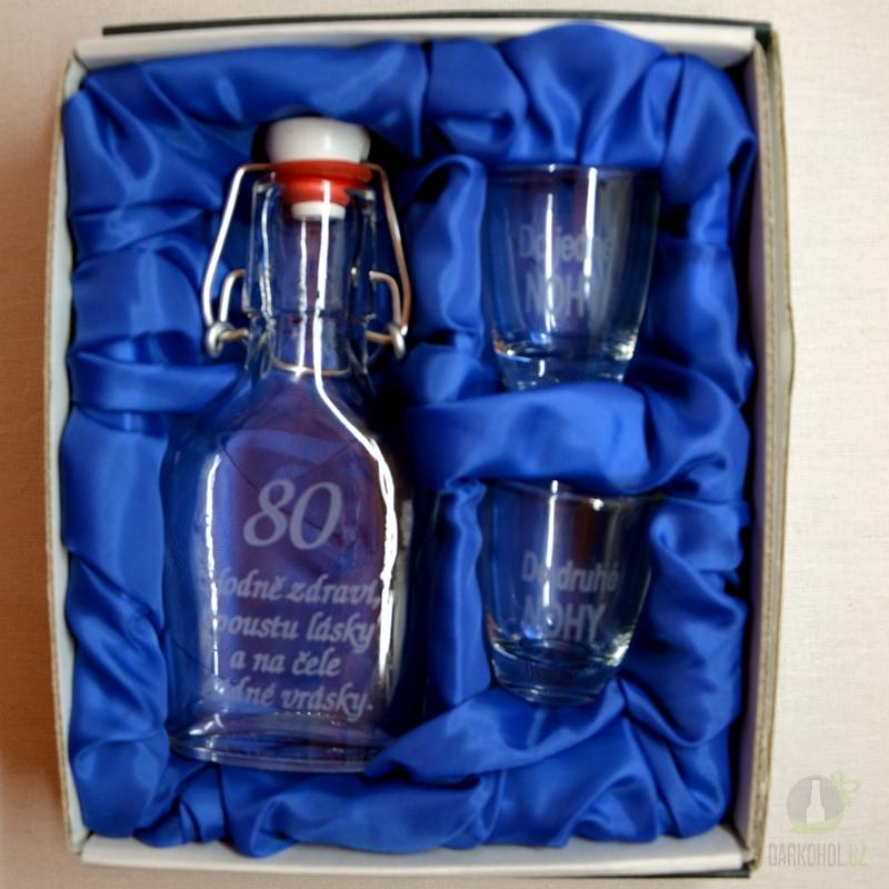 Hlavní kategorie - Malá sada láhev pískovaná Butylka dva panáky 80 let 0,1l