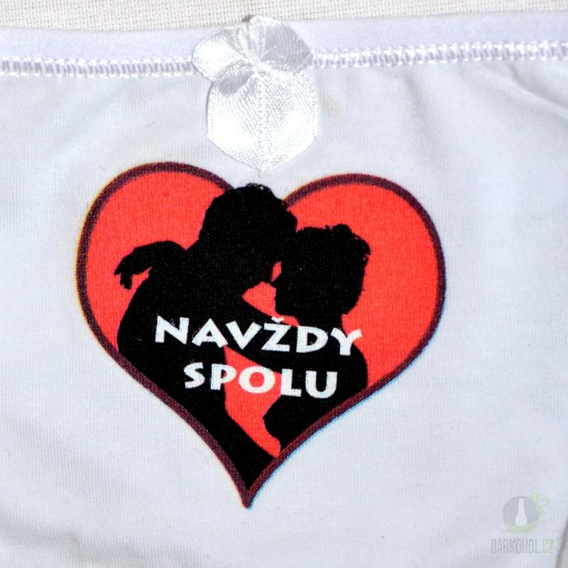 Hlavní kategorie - Kalhotky tanga bílé-Navždy spolu-srdce