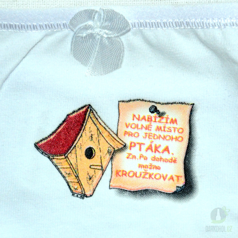 Hlavní kategorie - Kalhotky tanga bílé-Nabízím volné místo pro jednoho ptáka-budka-poslední kus!
