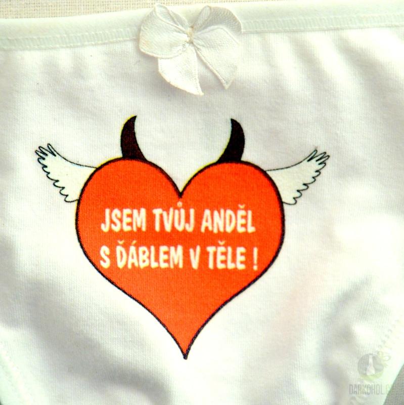 Hlavní kategorie - Kalhotky tanga bílé-Jsem tvůj anděl s ďáblem v těle