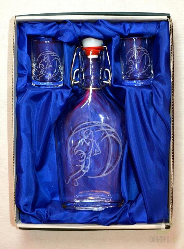 Hlavní kategorie - Souprava pískovaná láhev Butylka + 2 panáky 0,2l  Basket