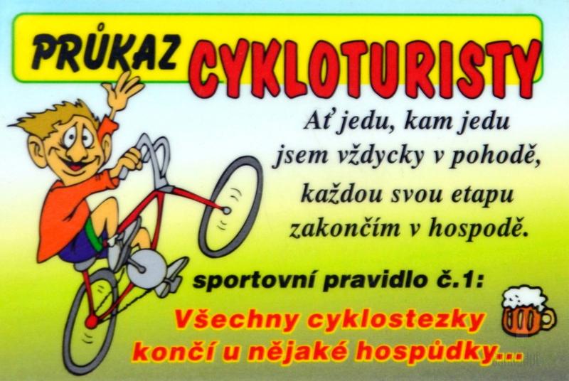 Hlavní kategorie - Cedulka Cykloturista