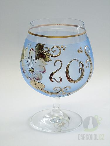 Hlavní kategorie - Číše výroční ručně malovaná -20let modrá