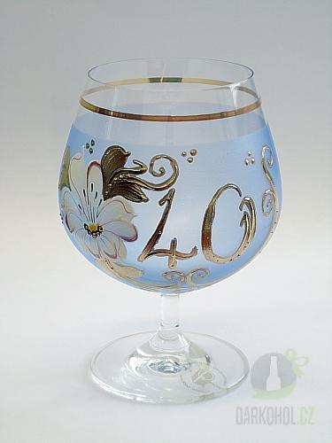 Hlavní kategorie - Číše výroční ručně malovaná -40let modrá