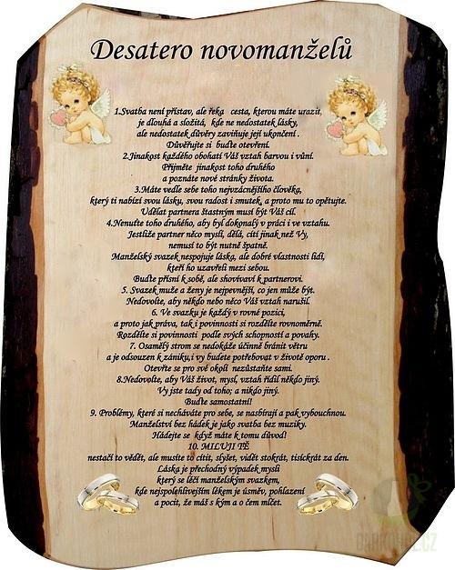 Hlavní kategorie - Žertovná tabulka nástěnná Desatero Novomanželské