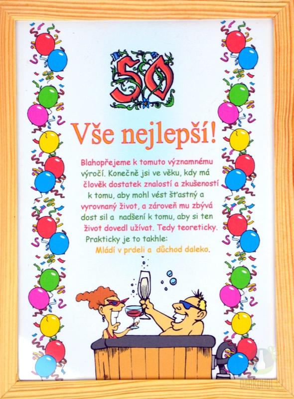 Hlavní kategorie - Rámeček střední-Vše nejlepší k 50 narozeninám