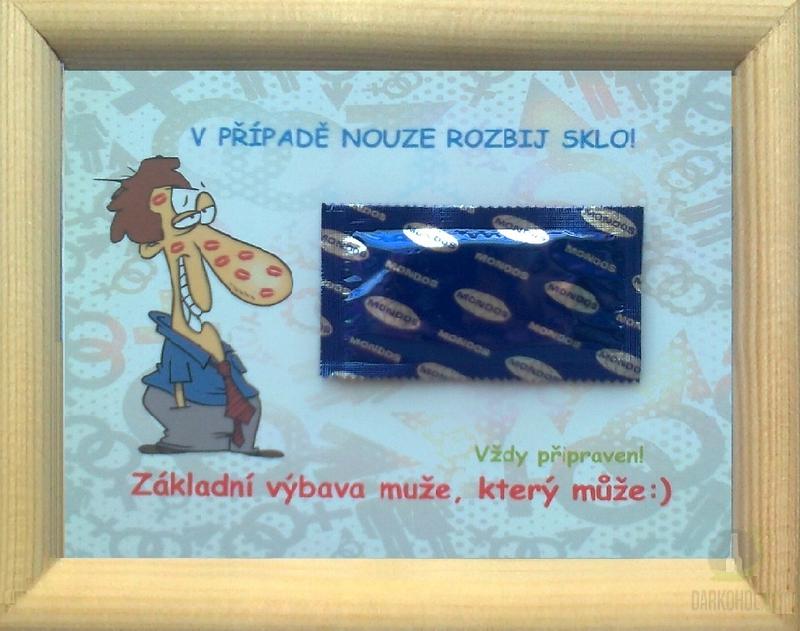 Hlavní kategorie - Rámeček malý-V případě nouze robij sklo-prezervativ