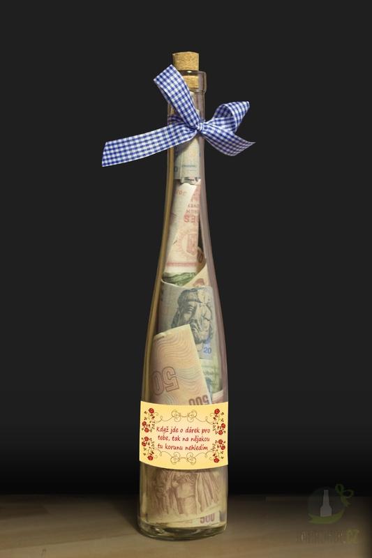 Hlavní kategorie - Láhev s bankovkami-Když jde o dárek pro tebe,tak na nějakou tu korunu nehledím