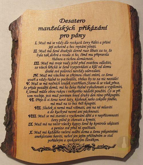 Hlavní kategorie - Žertovná tabulka nástěnná Desatero Manželské přikázání pro pány