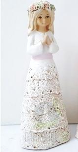 Hlavní kategorie - Anděl bez křídel růžový pásek-bílý,20cm,polystone