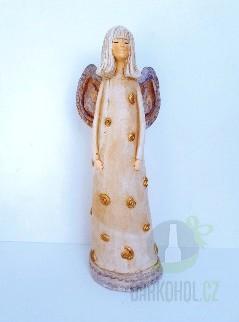 Hlavní kategorie - Anděl Justýna -zlatý,34cm,polystone