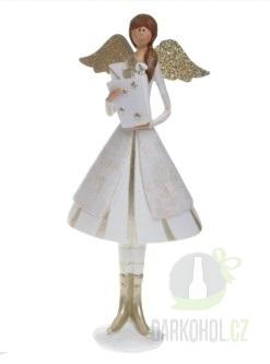 Hlavní kategorie - Anděl pretty-bílo/zlatý, 25cm, polystone-Poslední kus!