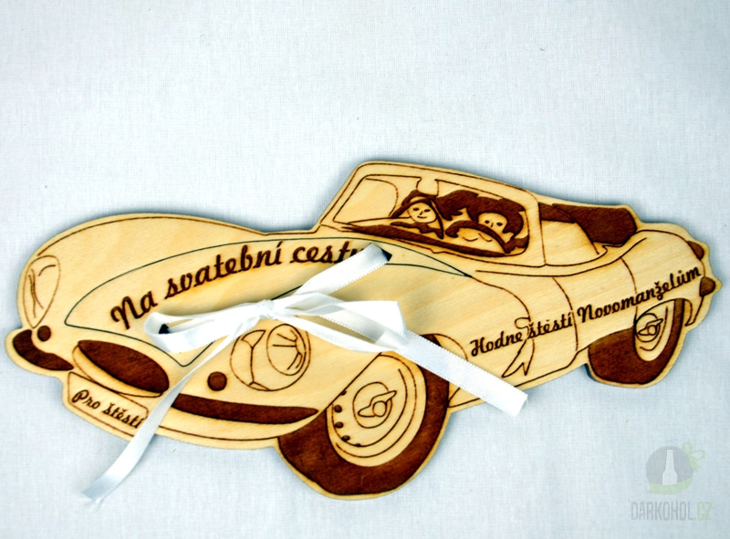 Hlavní kategorie - Dřevěné auto s kapsičkou na peníze - svatební (velké)
