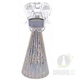 Hlavní kategorie - Anděl se svícnem v rukách- stříbrný,24cm,sklo-Poslední kus!