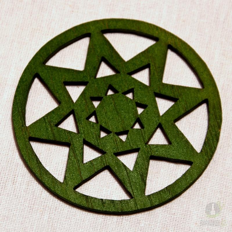 Sezónní dárky - Ozdoba vločka v kruhu zelená