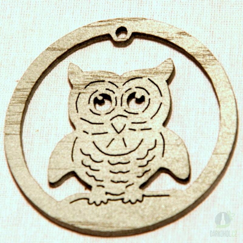 Sezónní dárky - Ozdoba sova v kruhu stříbrná