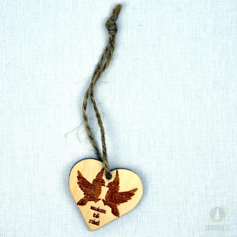 Hlavní kategorie - Srdíčko malé přírodní plné-holubice-mám tě rád