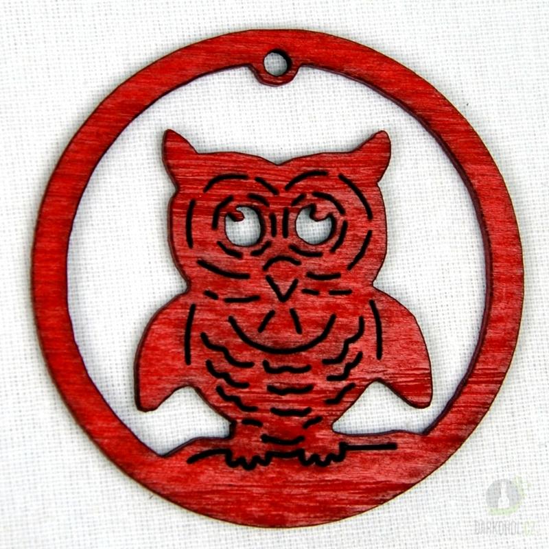 Sezónní dárky - Ozdoba sova v kruhu červená