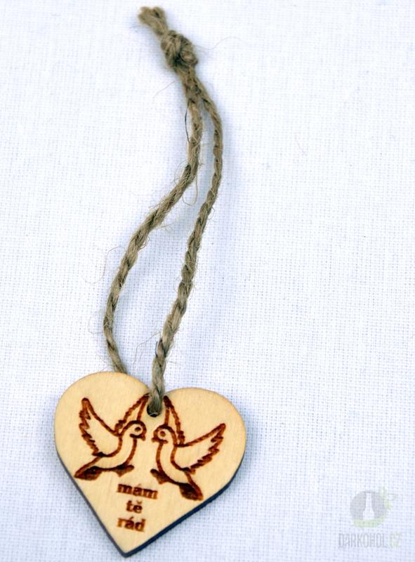 Hlavní kategorie - Srdíčko malé přírodní- holubice-mám tě rád