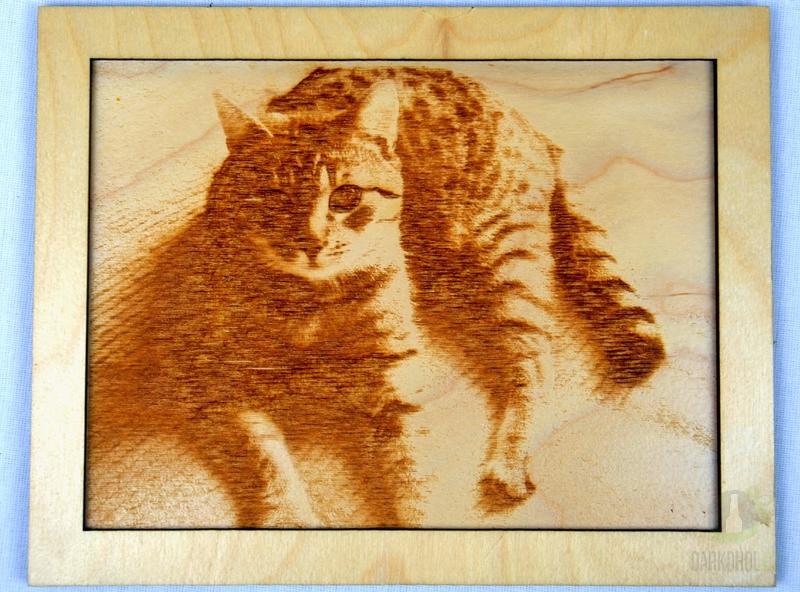 Hlavní kategorie - Dřevěný gravírovaný obrázek velký-kočka