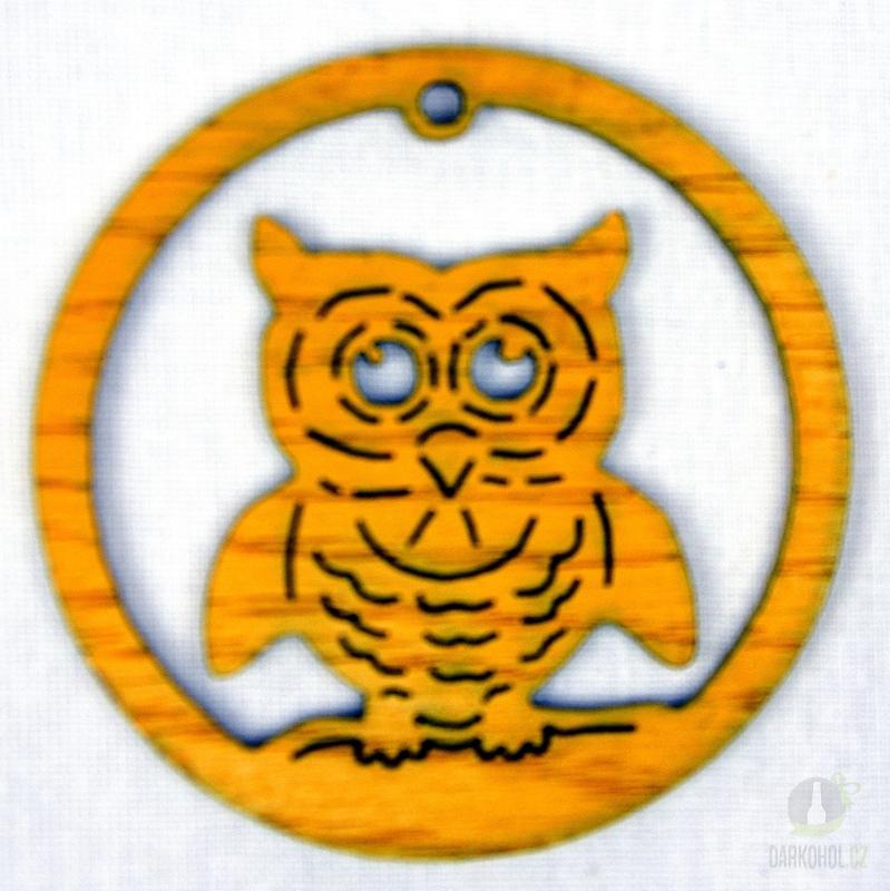 Sezónní dárky - Ozdoba sova v kruhu žlutá