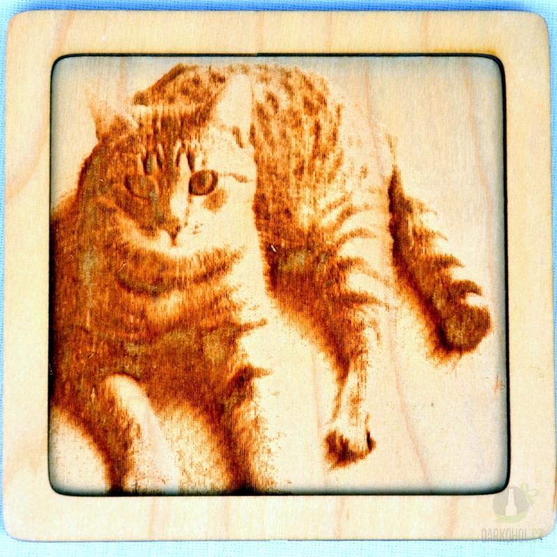 Hlavní kategorie - Dřevěný gravírovaný obrázek malý-kočka mouratá