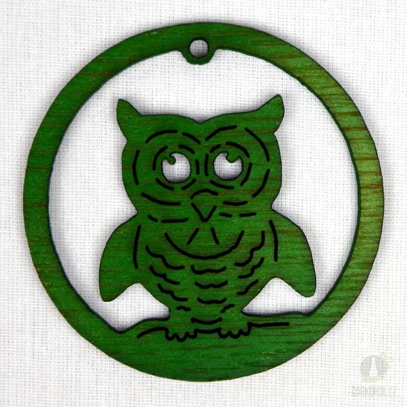 Sezónní dárky - Ozdoba sova v kruhu zelená