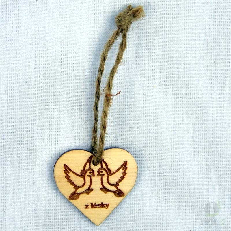 Hlavní kategorie - Srdíčko malé přírodní-holubice-z lásky